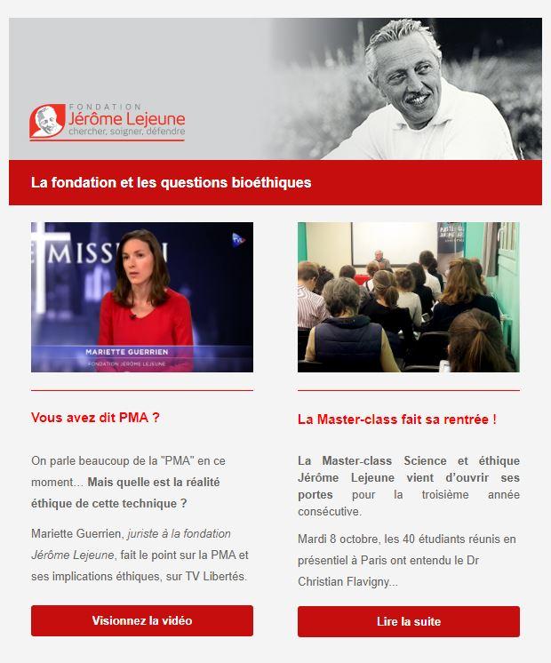newsletter fondation Lejeune